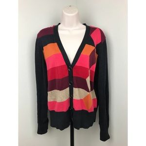 Cabi Argyle Colorblock Cardigan Sweater 171